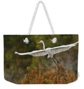 Great Egret Pixelated Weekender Tote Bag
