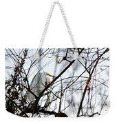 Great Egret Roosting In Winter Weekender Tote Bag