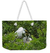Great Egret With Chicks On The Nest Weekender Tote Bag