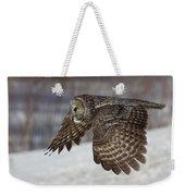 Great Grey Owl In Flight Weekender Tote Bag by Jakub Sisak
