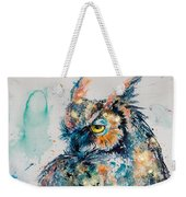 Great Horned Owl In Gold Weekender Tote Bag
