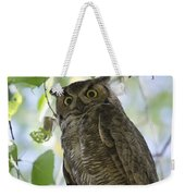 Great Horned Owl On A Branch  Weekender Tote Bag