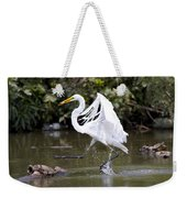 Great White Egret And Turtle Friends1 Weekender Tote Bag