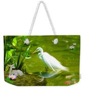 Great White Egret Bird With Deer And Fish In Lake  Weekender Tote Bag