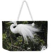 Great White Egret Building A Nest Vii Weekender Tote Bag