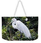 Great White Egret Building A Nest Viii Weekender Tote Bag