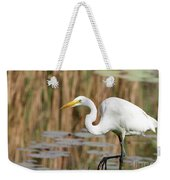 Great White Egret By The River Weekender Tote Bag by Sabrina L Ryan