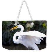Great White Egret Eating Fish 1 Weekender Tote Bag