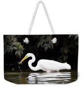 Great White Egret Eating Fish 2 Weekender Tote Bag