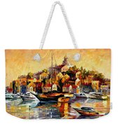 Greek Day - Palette Knife Oil Painting On Canvas By Leonid Afremov Weekender Tote Bag