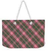 Green And Pink Diagonal Plaid Pattern Textile Background Weekender Tote Bag