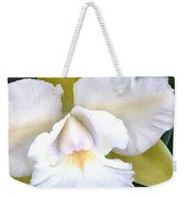 Green And White Cattleya Orchid Weekender Tote Bag