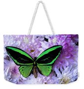 Green Butterfly And Mums Weekender Tote Bag