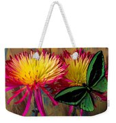 Green Butterfly On Fire Mums Weekender Tote Bag