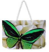Green Butterfly With White Roses Weekender Tote Bag