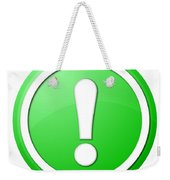 Green Exclamation Point Button Weekender Tote Bag