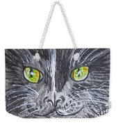 Green Eyes Black Cat Weekender Tote Bag