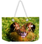 Green Frog Hiding Weekender Tote Bag