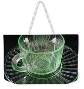 Green Glass Cup And Saucer Weekender Tote Bag