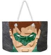 Green Lantern Superhero Portrait Recycled License Plate Art Weekender Tote Bag
