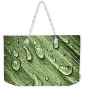 Green Leaf Background With Raindrops Weekender Tote Bag