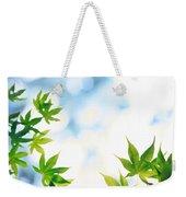 Green Leaves On Mottled Cloudy Sky Weekender Tote Bag