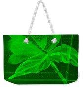 Green Negative Wood Flower Weekender Tote Bag