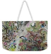 Green Pink Brown Abstract Art Spring Color Blossom Flower Butterfly Painting Abstract Acrylic Ink Ar Weekender Tote Bag