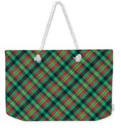 Green Red And Black Diagonal Plaid Textile Background Weekender Tote Bag