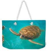 Green Sea Turtle Surfacing Weekender Tote Bag