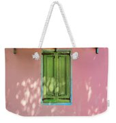 Green Shutters Pink Stucco Wall Weekender Tote Bag
