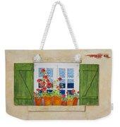 Green Shutters With Red Flowers Weekender Tote Bag