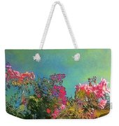Green Sky With Pink Bougainvillea - Square Weekender Tote Bag