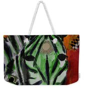 Green Zebra Stripes  Weekender Tote Bag