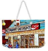 Greenspot Restaurant Notre Dame Street  South West Montreal Paintings Winter Hockey Scenes St. Henri Weekender Tote Bag