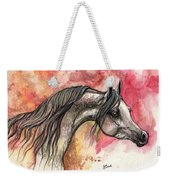 Grey Arabian Horse On Red Background 2013 11 17  Weekender Tote Bag