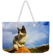 Grey Cat And Rainbow Weekender Tote Bag
