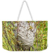 Grey Wasps Nest In Willow Bush Weekender Tote Bag