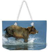 Grizzly Bear Chasing Fish Weekender Tote Bag