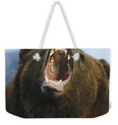 Grizzly Bear Close Up Of Growling Face Weekender Tote Bag