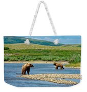 Grizzly Bear Communication In The Moraine River In Katmai  Np-ak Weekender Tote Bag