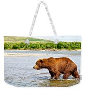 Grizzly Bear Determined To Catch A Salmon This Time In The Moraine River  Weekender Tote Bag