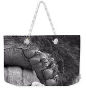 Grizzly Bear Paw Black And White Weekender Tote Bag