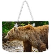 Grizzly Bear Very Close In Moraine River In Katmai National Preserve-ak Weekender Tote Bag