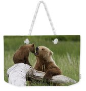 Grizzly Bear With Cub Playing Weekender Tote Bag