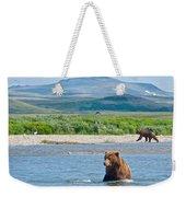 Grizzly Bears In Moraine River In Katmai National Preserve-ak Weekender Tote Bag