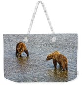 Grizzly Bears Looking For Salmon In Moraine River In Katmai Np-ak Weekender Tote Bag