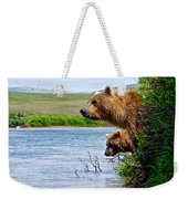Grizzly Bears Peering Out Over Moraine River From Their Safe Island Weekender Tote Bag