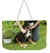 Grooming Bernese Mountain Puppy Weekender Tote Bag