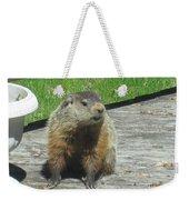 Groundhog Holding A Stick Weekender Tote Bag